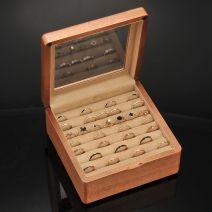Vintage Schmuckschatulle Holz für Ringe mit Einwegspiegel