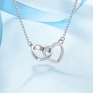 Halskette Damen 925 Silber Herzen mit Zirkonia