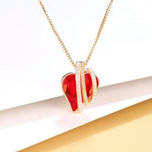 Herz Kupfer Halskette vergoldet mit Zirkonia