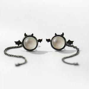 Ohrstecker Damen Silber schwarz Ohrringe
