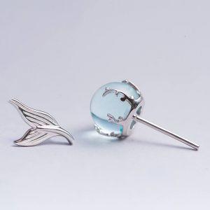 Damen Ohrstecker 925 Silber Meerjungfrau