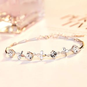 Vierblättriges Kleeblatt Armband Damen Silber Armkette
