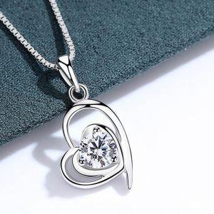Halskette Damen Herz 925 Silber mit Zirkonia