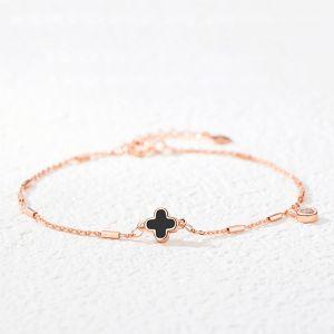 Armband Damen 925 Silber mit Kleeblatt Armkette Glücksbringer