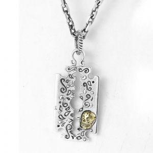 Herren Halskette Rasierklinge 925 Silber mit Anhänger