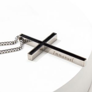 lange Kette Halskette 925 Silber mit Kreuz Anhänger