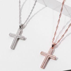 Halskette Damen Silber Kreuz Silberkette mit Zirkonia