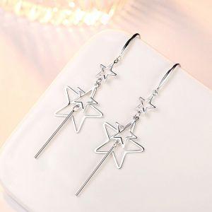 Ohrringe Silber lang hängend Ohrschmuck Stern