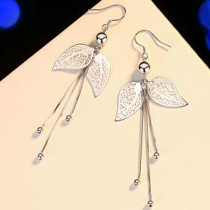 Ohrringe Blätter Silber lang hängend