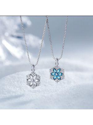 Damen Halskette Silber Ketten mit Schneeflocke