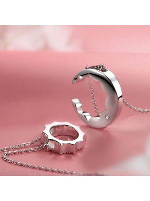Halskette Damen 925 Silber Kette Mond und Sonne
