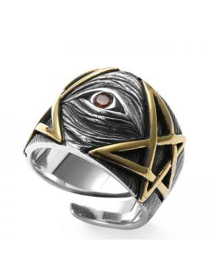 offene Herrenring 925 Silber mit Auge