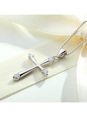 Damen Halskette Silber Kreuz Kette für Freundin