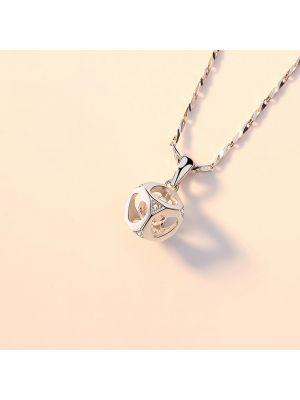 Halskette Damen 925 Silber mit Würfel Anhänger