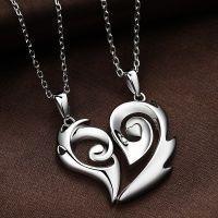 Halskette Silber für Paare mit Herz Anhänger