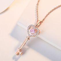Halskette Damen Silber Schlüssel mit Zirkonia