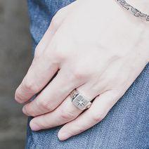 Herrenring offen Silber breit mit Stein Fingerring Sonne