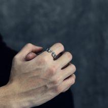 Stylische Silber Herrenring Offen Faust