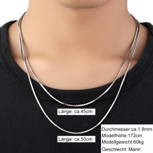 Halskette Silber 925 ohne Anhänger für Damen und Herren