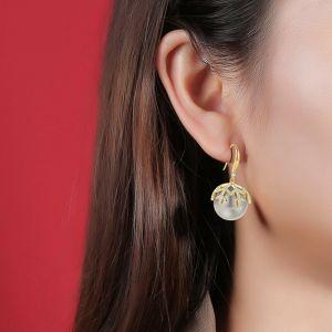 Damen Ohrringe Kugel Kupfer vergoldet Weihnachtsgeschenk