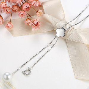Pulloverkette Silber lange Kette Damen Modeschmuck