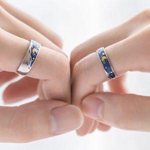 Ofene Silber Ringe für Paare Partnerringe
