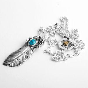 Herren Halskette Silber mit Feder Anhänger