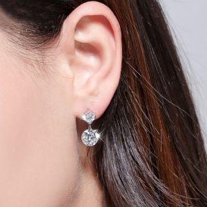 Ohrstecker Silber Stern Ohrringe hängend mit Zirkonia