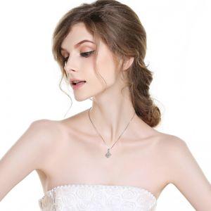 Halskette Damen 925 Silber Silberkette mit Verblättern Anhänger