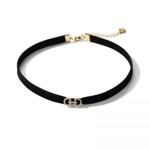 modisches Halsband Damen Stoff schwarz