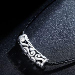 Halskette Herren Lederband schwarz 925 Silber Anhänger