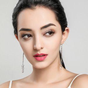 Ohrringe Damen lang Ohrhaken Silber