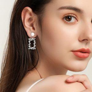 Ohrringe rechteckig Silber Ohrschmuck modern