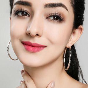 Damen Ohrringe groß Silber rund Modeschmuck