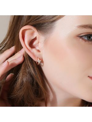 kleine Kreuz Ohrringe Damen Ohrcreolen Silber