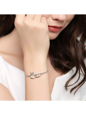 Armband Damen Silber mit Zirkonia Armkette Anhänger