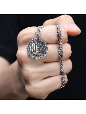 Halskette Herren Silber 925 mit rundem Anhänger